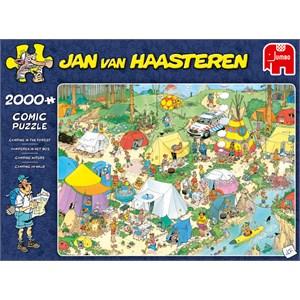 """Jumbo (19087) - Jan van Haasteren: """"Camping im Wald"""" - 2000 Teile Puzzle"""