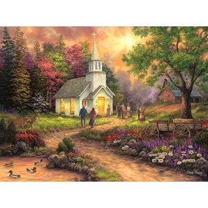 """SunsOut (33706) - Chuck Pinson: """"Country Church"""" - 1000 Teile Puzzle"""