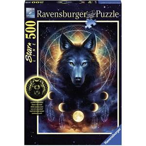 """Ravensburger (13970) - """"Leuchtender Wolf"""" - 500 Teile Puzzle"""