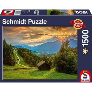 """Schmidt Spiele (58970) - """"Sonnenuntergang über dem Bergdorf Wamberg"""" - 1500 Teile Puzzle"""