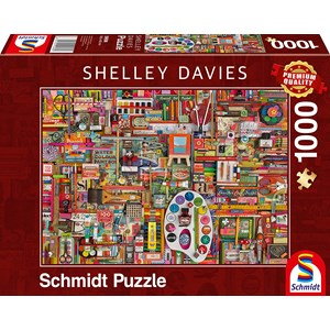 "Schmidt Spiele (59698) - Shelley Davies: ""Vintage Artist Materials"" - 1000 Teile Puzzle"