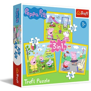 "Trefl (34849) - ""Peppa's happy day, Peppa Pig"" - 20 36 50 Teile Puzzle"